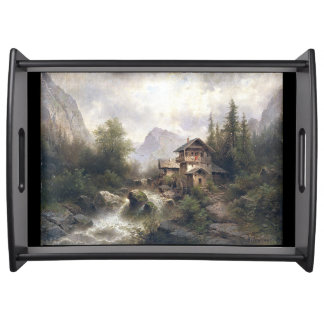 Alpine River Forest Mountains Chalet Serving Tray