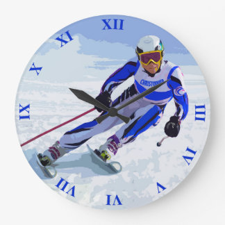 Alpine Skier In Blue With Your Name Drawing Large Clock