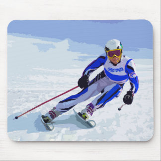Alpine Skier In Blue With Your Name Drawing Mouse Pad