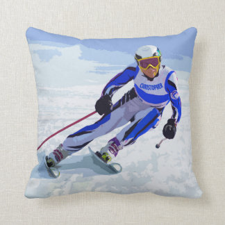 Alpine Skier In Blue With Your Name Drawing Throw Pillow