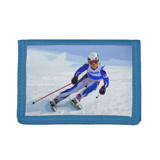 Alpine Skier In Blue With Your Name Drawing Trifold Wallets