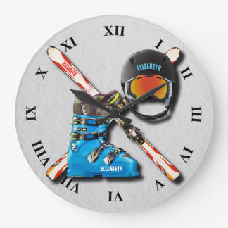 Alpine Skiing Boots Helmet Googles With Your Name Large Clock