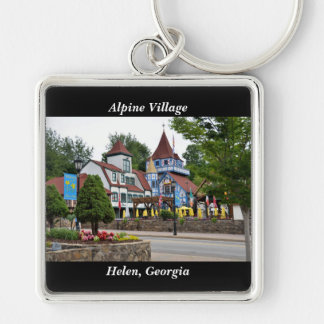 Alpine Village Helen, Georgia Silver-Colored Square Keychain