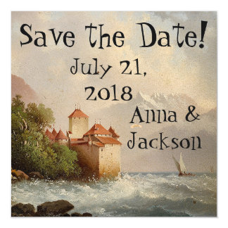 Alps Castle Lake Save Date Magnetic Card
