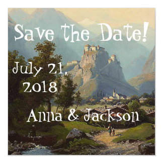 Alps Castle Stream Save Date Magnetic Card