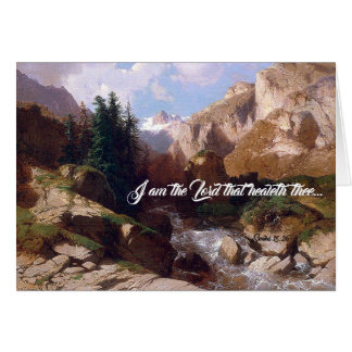 Alps Forest Stream Trees God Heals Greeting Card