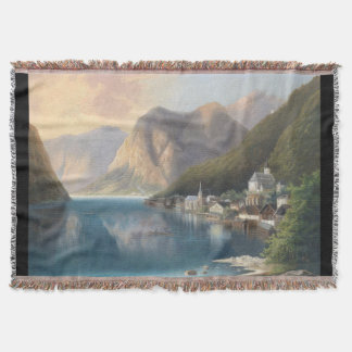 Alps Lake Hamlet Town Mountains Throw Blanket