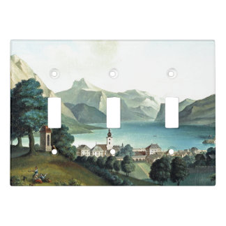 Alps Lake Mountains Town Light Switch Cover
