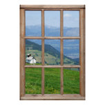 Alps Meadow View from a Window Poster