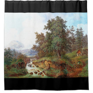 Alps Mountains Waterfall Cabin Shower Curtain