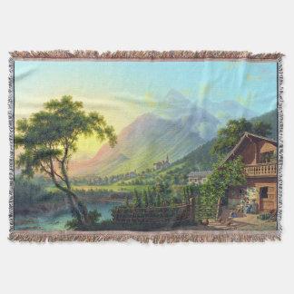 Alps Swiss Farmhouse River Mountain Throw Blanket