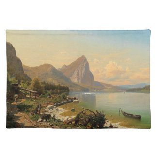 Alps Wilderness Lake Cabin Boats Placemat