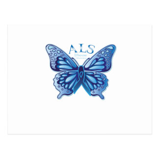 ALS Disease Awareness  Blue Ribbon Butterfly Gift Postcard