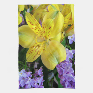 Alstroemeria and  Lilacs Flowers Kitchen Towel
