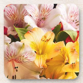 Alstroemeria Flowers Plastic Coasters