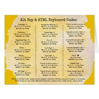 Alt Key and HTML Keyboard Codes Tutorial Card