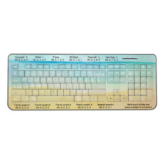 Alt Key Symbols for Writers Beach Scene Wireless Keyboard