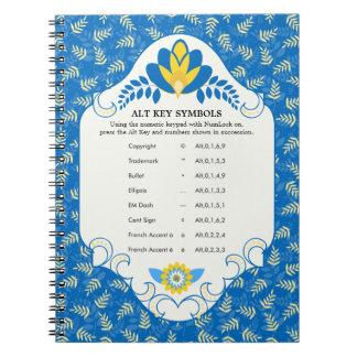 Alt Key Symbols on Vintage Blue Floral Notebook