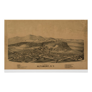 Altamont New York 1889 Antique Panoramic Map Poster