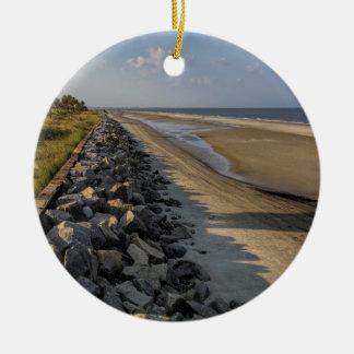 Altantic Ocean Sea Barrier Round Ceramic Ornament
