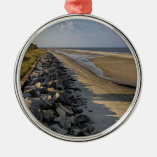 Altantic Ocean Sea Barrier Silver-Colored Round Ornament