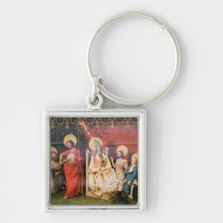Altarpiece depicting Christ with St. Thomas Silver-Colored Square Keychain
