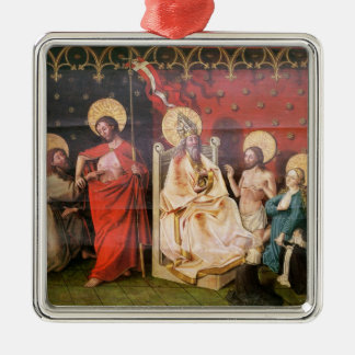 Altarpiece depicting Christ with St. Thomas Silver-Colored Square Ornament