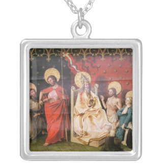 Altarpiece depicting Christ with St. Thomas Silver Plated Necklace