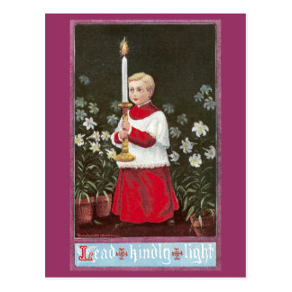 Alter Boy Bearing Candle Vintage Easter Postcard