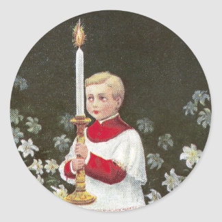 Alter Boy Bearing Candle Vintage Easter Round Sticker