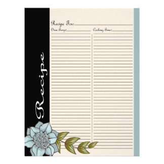 Alter Recipe Page for Blue Rose Recipe Binder - 2B
