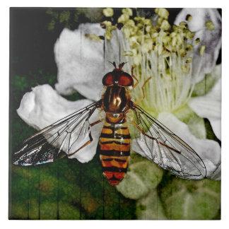 Altered Art Grunge Deco Bee Wasp Floral Flower Tile