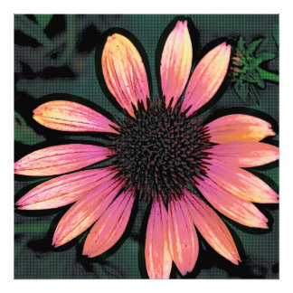 Altered Art Pop Art Hot Pink Grunge Flower Photo Art