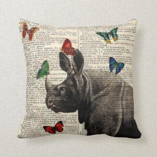 Altered Art Rhinoceros  Butterflies Throw Pillow