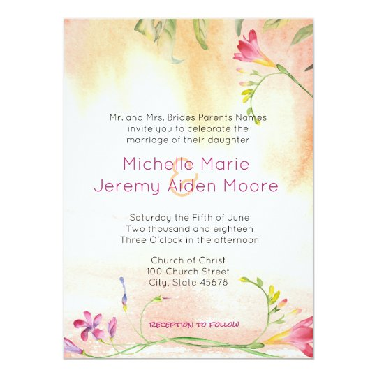 Alternate Boho Freesia Pink Pop Wedding Card