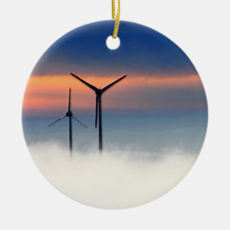 Alternative Energy - Wind Power in the Clouds Round Ceramic Ornament
