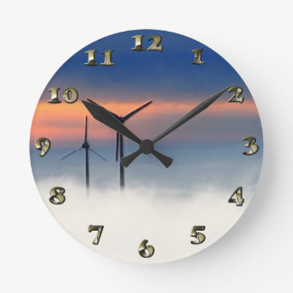 Alternative Energy - Wind Power in the Clouds Wall Clocks