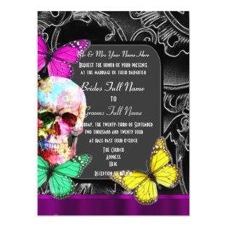 """Alternative gothic sugar skull wedding 6.5"""" x 8.75"""" invitation card"""