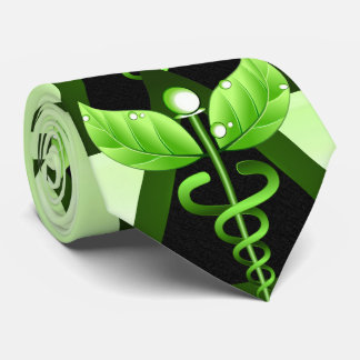 Alternative Medicine Green Caduceus Medical Symbol Tie