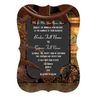 """Alternative steampunk wedding 5"""" x 7"""" invitation card"""