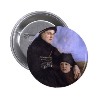Altesnational dachau woman with young child 2 inch round button