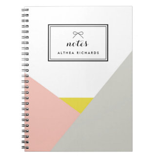 Althea Pink & Gray Personalized Notebook