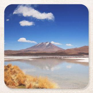 Altiplano landscape with volcano in Bolivia Square Paper Coaster