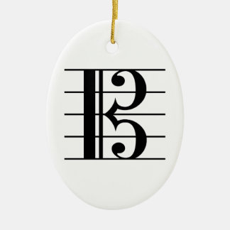 Alto Clef on Staff Ceramic Ornament