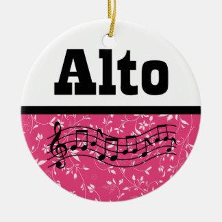 Alto Singer Choir Music Round Ceramic Ornament