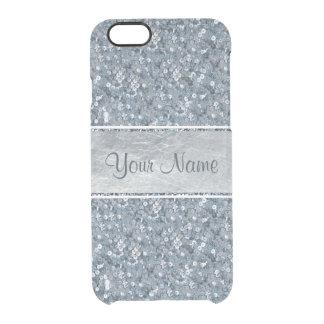 Aluminium argenté de scintillement bleu de coque iPhone 6/6S