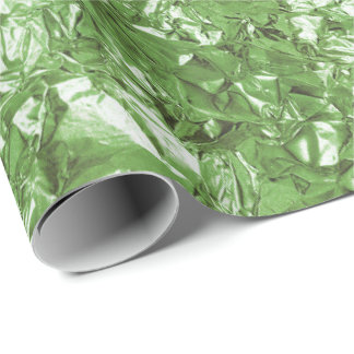 Aluminium Foil Grass Fresh Meado Metallic Wrinkled Wrapping Paper