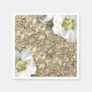 Aluminium Metallic Gold White Faux Jasmin Floral Disposable Napkin