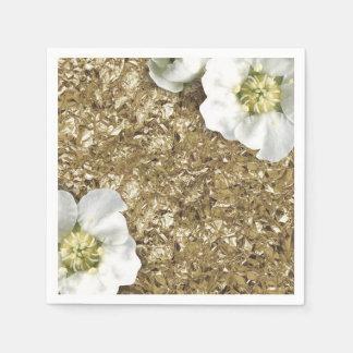 Aluminium Metallic Gold WhiteSequin Sparkly Floral Disposable Napkins