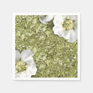 Aluminium Metallic White Floral Mint Green Creased Paper Napkin